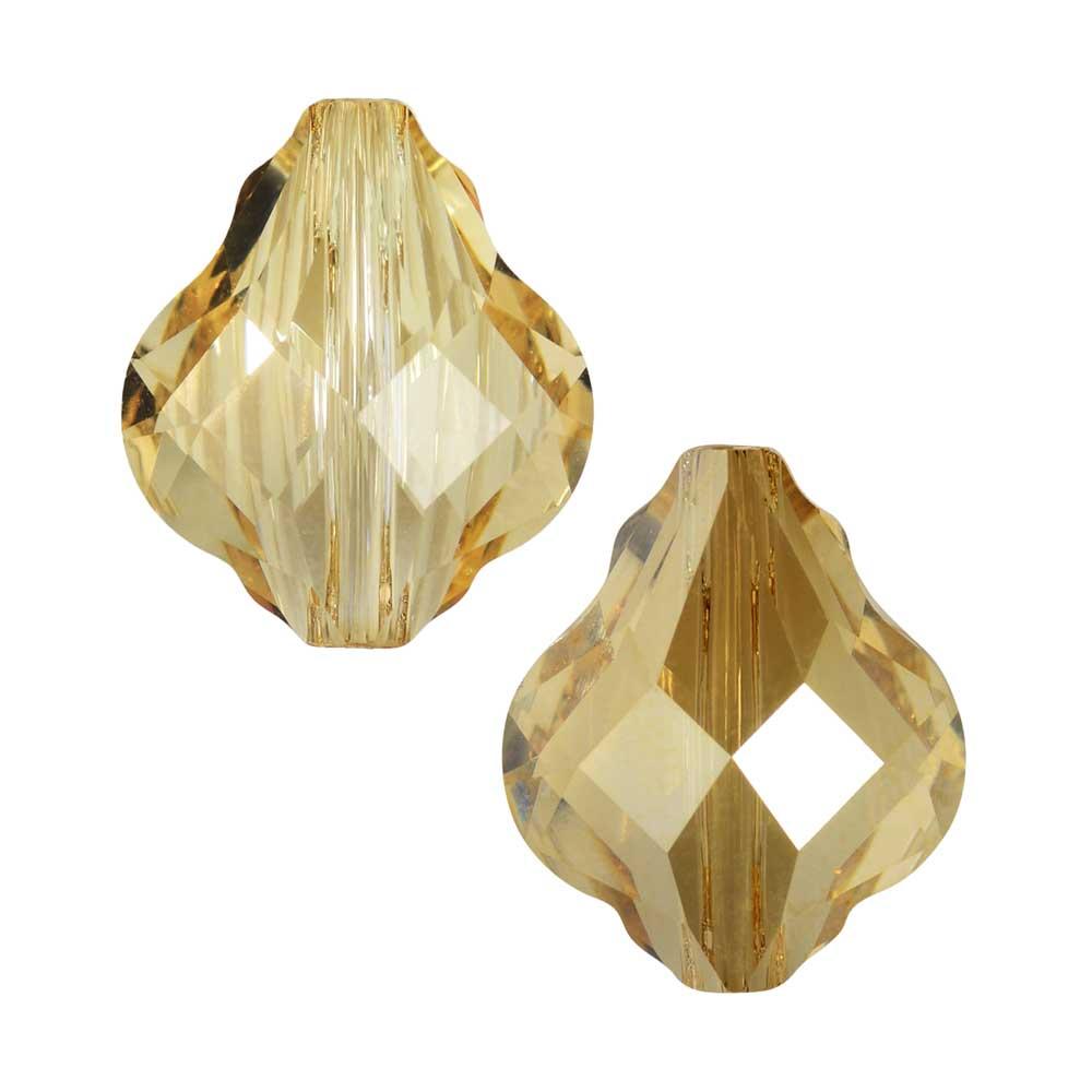 Swarovski Crystal, #5058 Baroque Bead 10mm, 2 Pieces, Crystal Golden Shadow