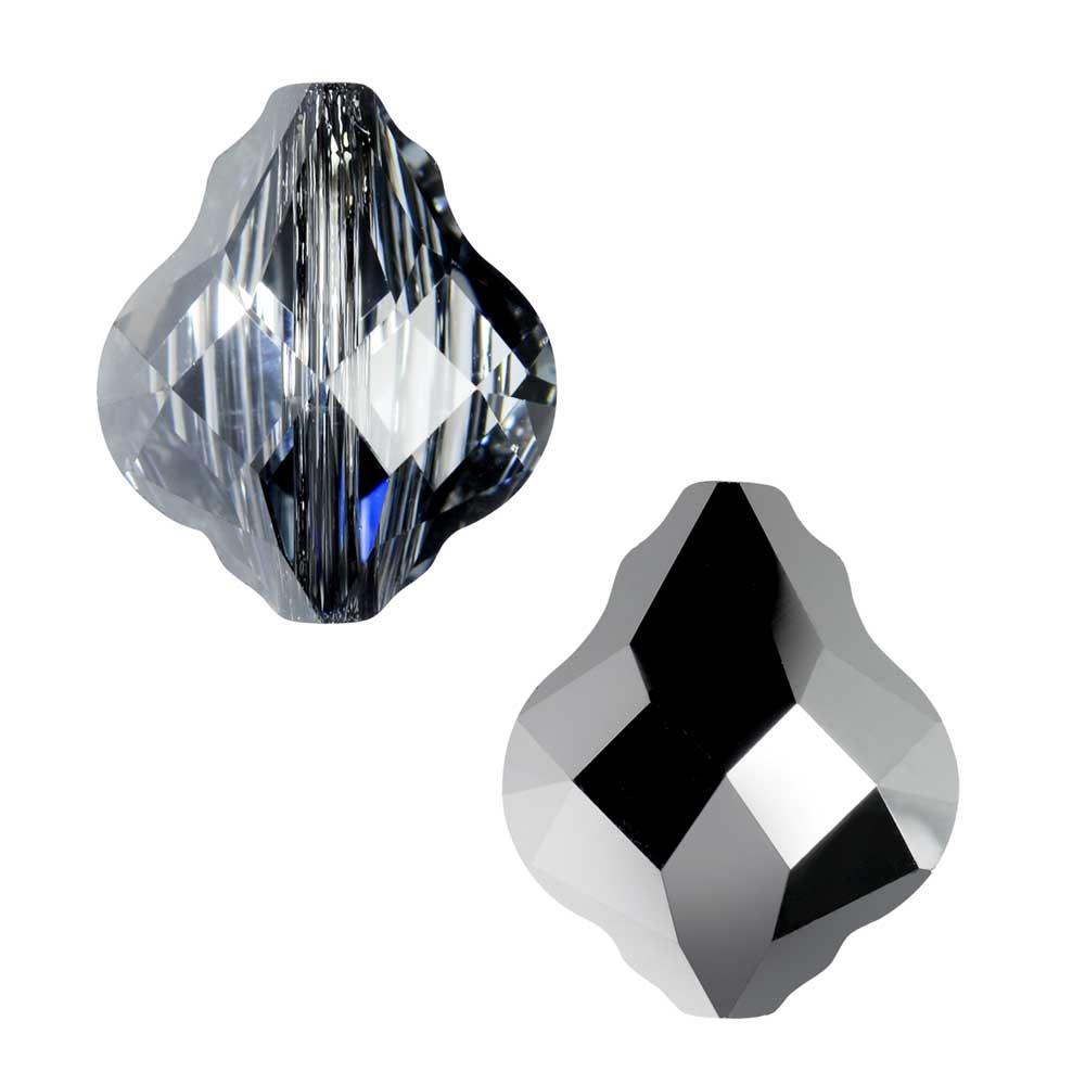 Swarovski Crystal, #5058 Baroque Bead 10mm, 2 Pieces, Crystal Silver Night