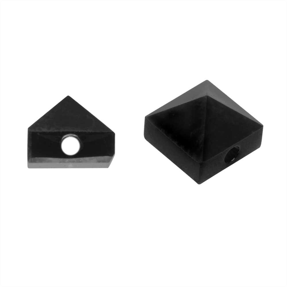 Final Sale - Swarovski Crystal, #5060 Square Spike Beads 5.5mm, 4 Pieces, Jet Black