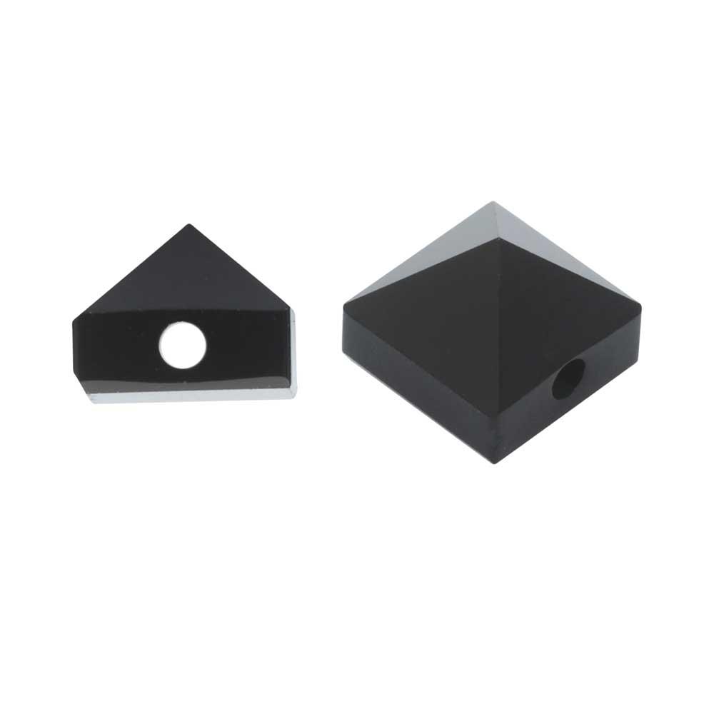 Final Sale - Swarovski Crystal, #5061 Square Spike Beads 5.5mm, 4 Pieces, Jet Hematite