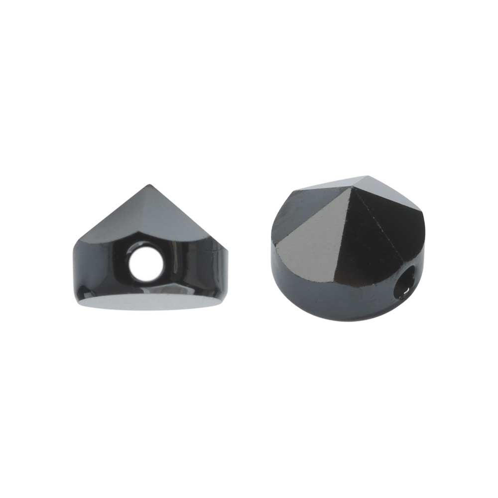 Final Sale - Swarovski Crystal, #5062 Round Spike Beads 5.5mm, 4 Pieces, Jet Hematite