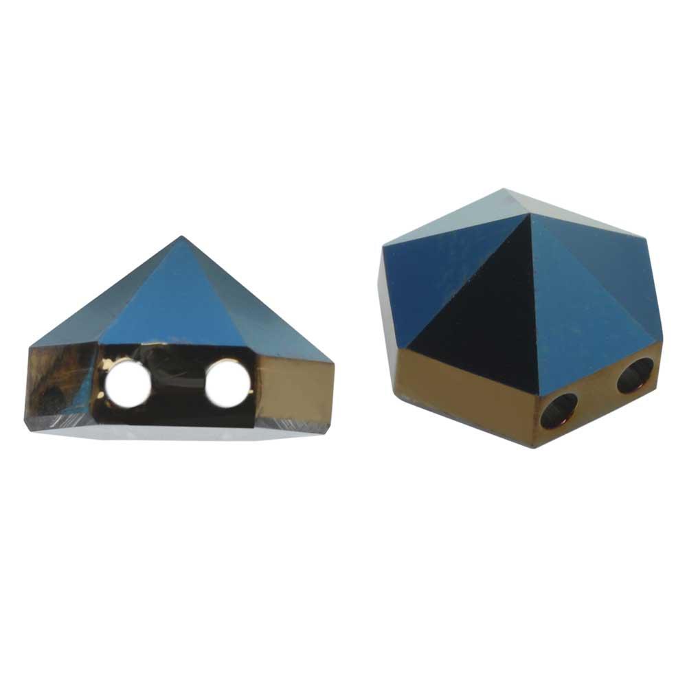 Final Sale - Swarovski Crystal, #5060 Hexagon 2-Hole Spike Beads 7.5mm, 4 Pieces, Crystal Metallic Blue