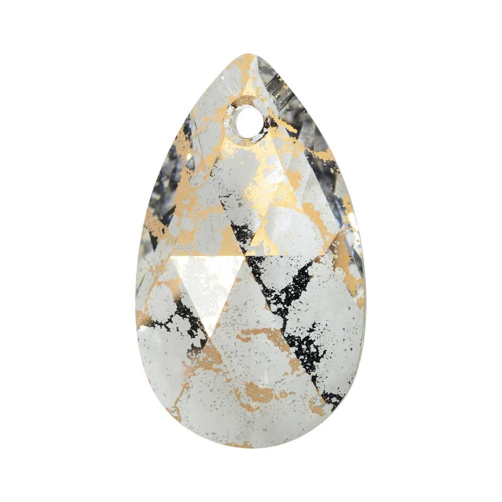 Swarovski Crystal, #6106 Pear Pendant 22mm, 1 Piece, Crystal Gold Patina