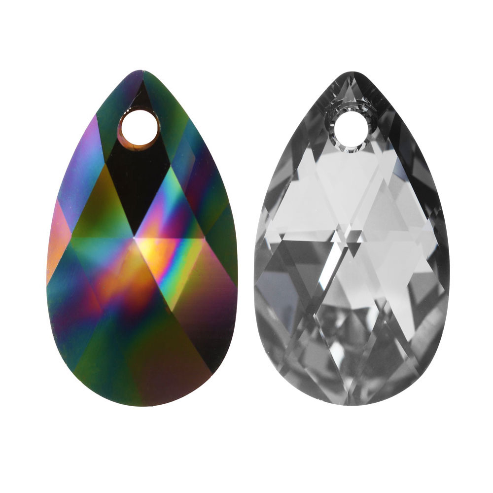 Swarovski Crystal, #6106 Pear Pendant 16mm, 2 Pieces, Crystal Rainbow Dark