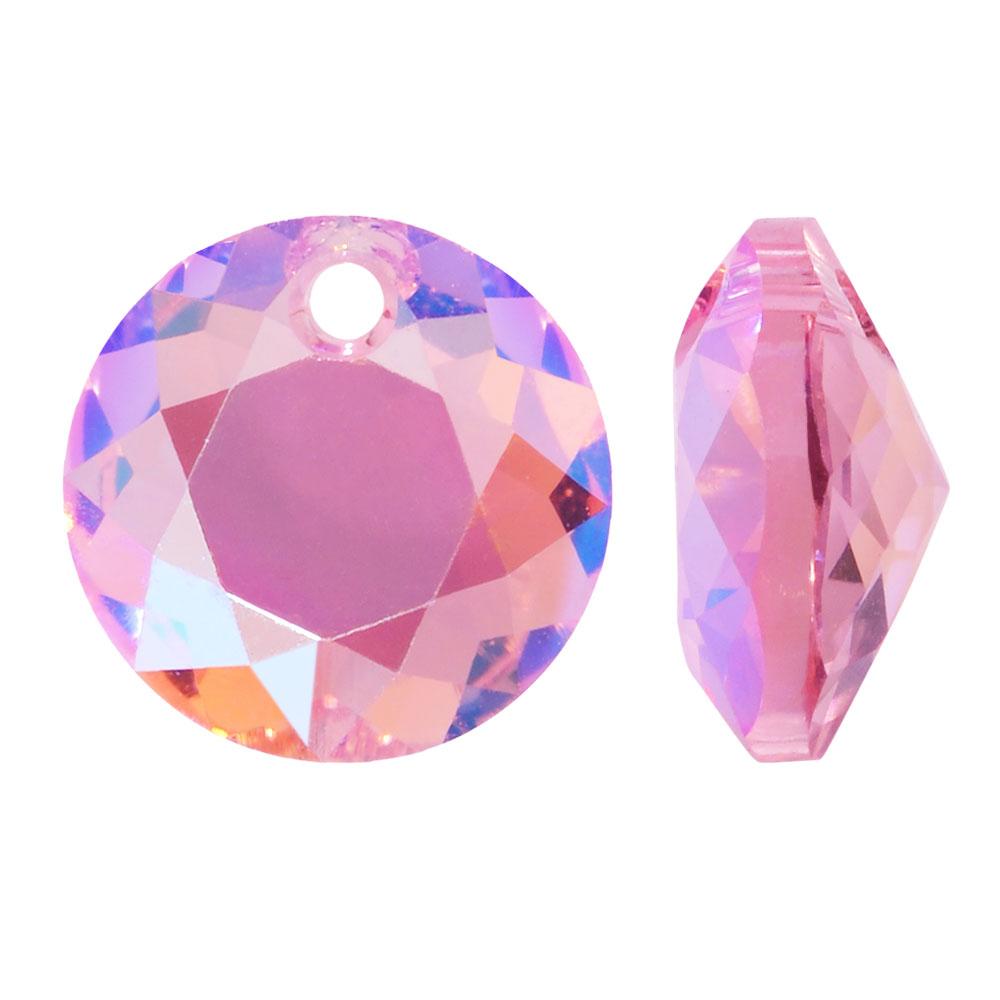 Swarovski Crystal, #6430 Round Classic Cut Pendants 14mm, 2 Pieces, Light Rose Shimmer