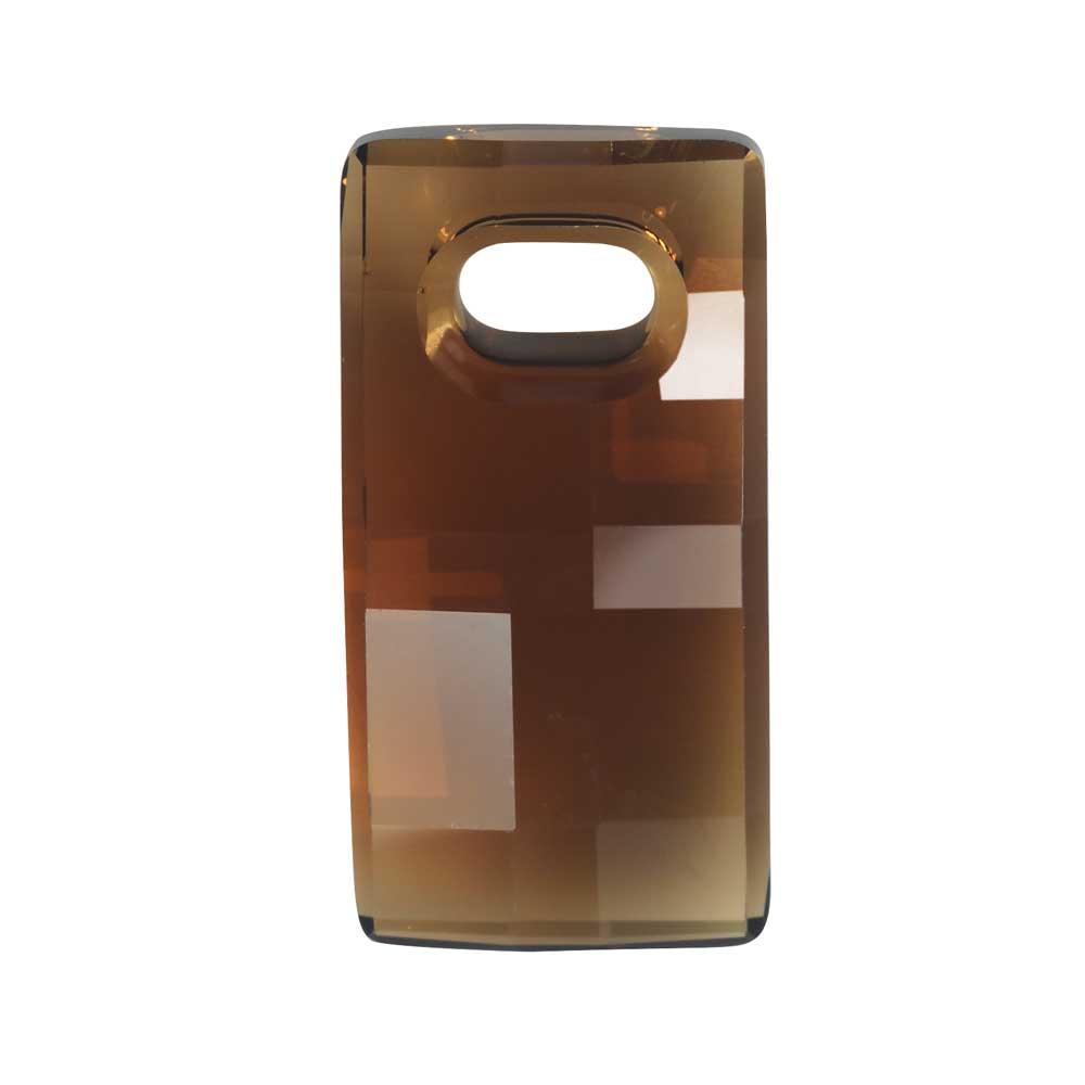 Swarovski Crystal, #6695 Chessboard Pendant 20mm, 1 Piece, Smoked Topaz