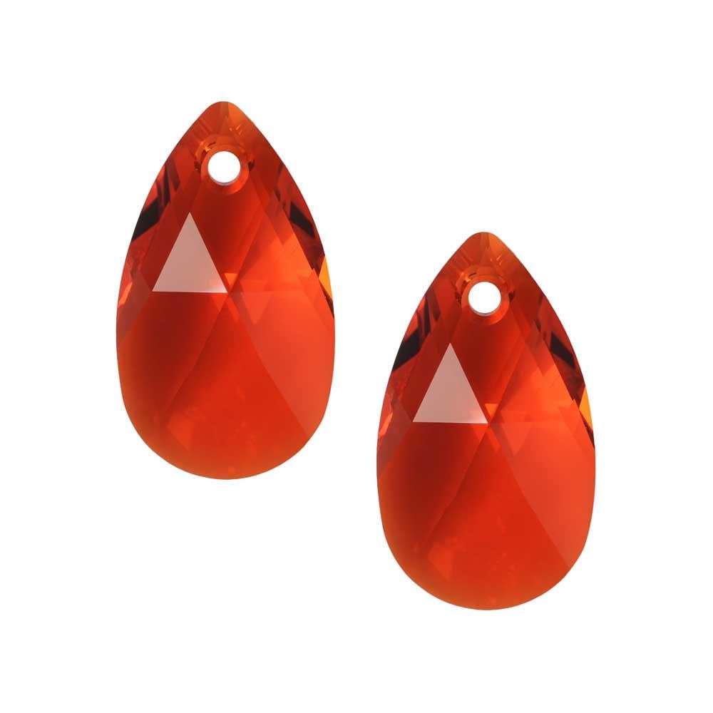 Swarovski Crystal, #6106 Pear Pendant 16mm, 2 Pieces, Light Siam