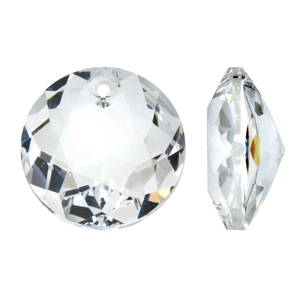 Swarovski Crystal, #6430 Round Classic Cut Pendants 10mm, 2 Pieces, Crystal