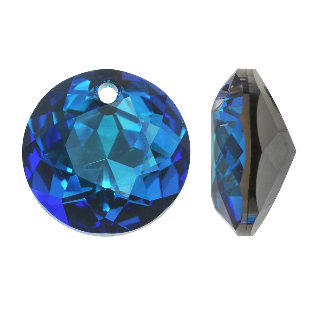 Swarovski Crystal, #6430 Round Classic Cut Pendants 10mm, 2 Pieces, Crystal Bermuda Blue P