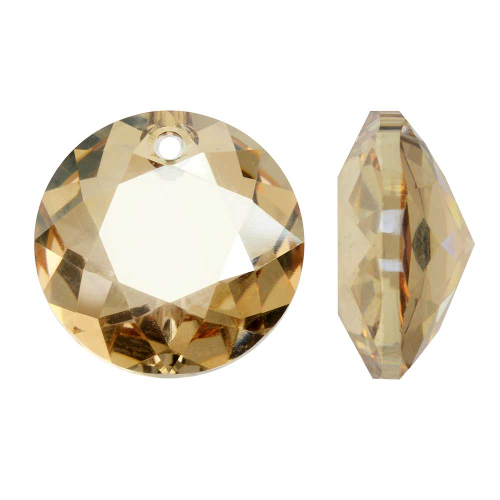 Swarovski Crystal, #6430 Round Classic Cut Pendants 10mm, 2 Pieces, Crystal Golden Shadow