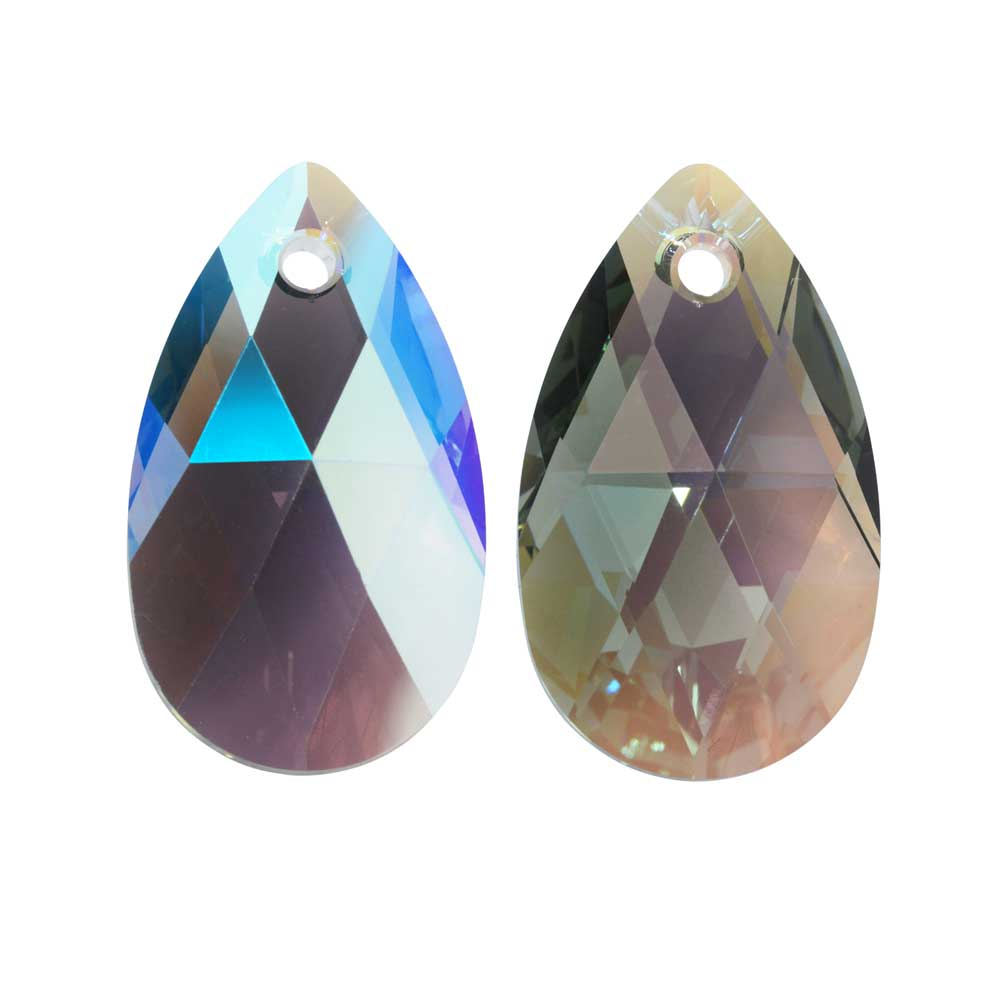 Swarovski Crystal, #6106 Pear Pendant 16mm, 2 Pieces, Black Diamond Shimmer