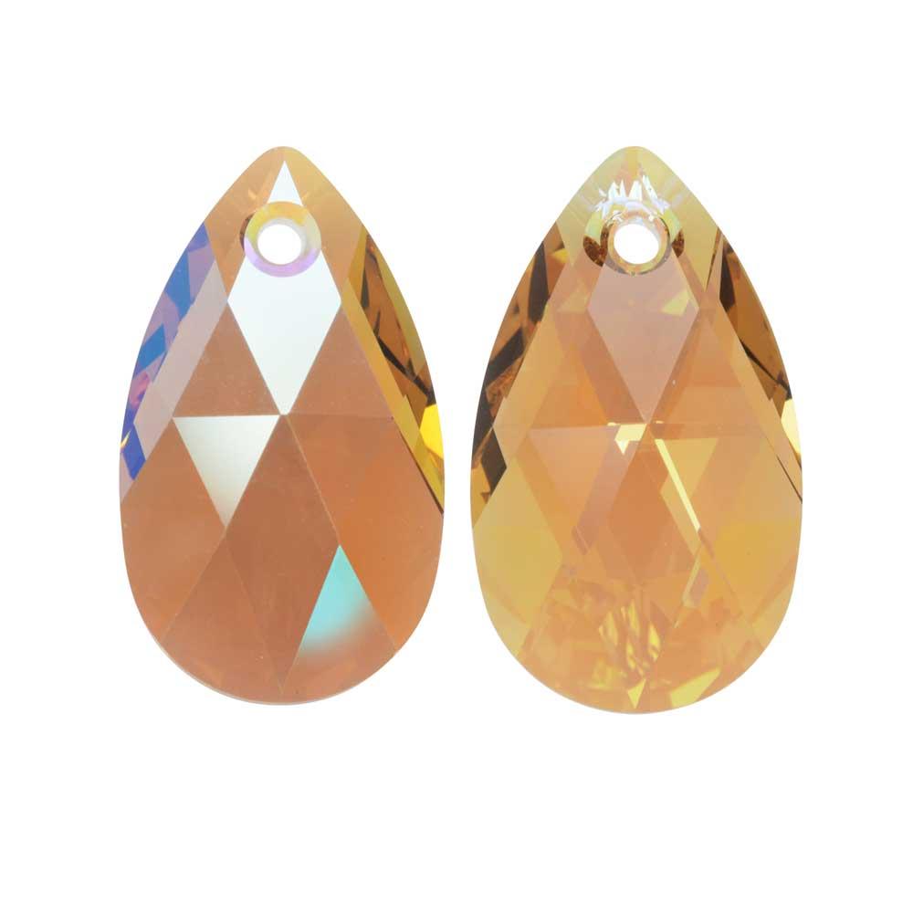 Swarovski Crystal, #6106 Pear Pendant 16mm, 2 Pieces, Light Colorado Topaz Shimmer