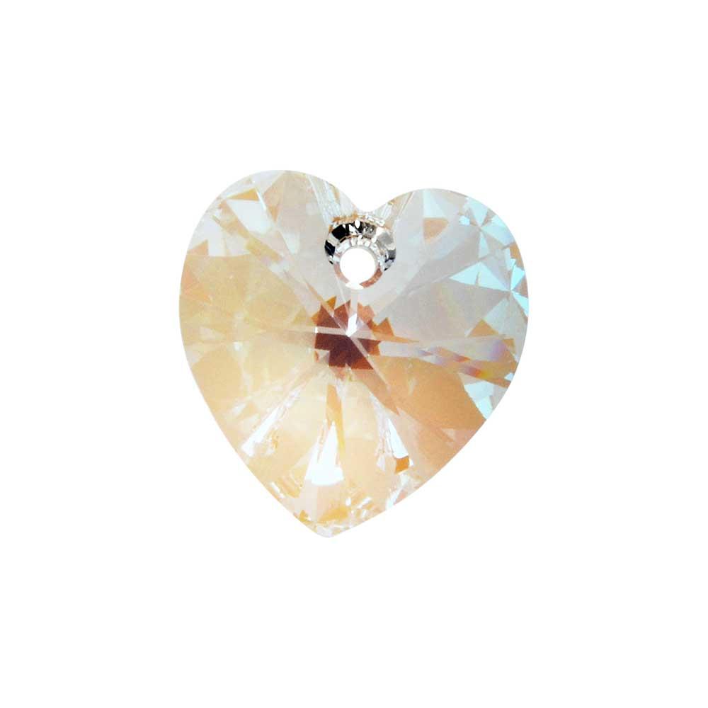 Swarovski Crystal, #6228 Heart Pendants 10mm, 6 Pieces, Crystal Shimmer