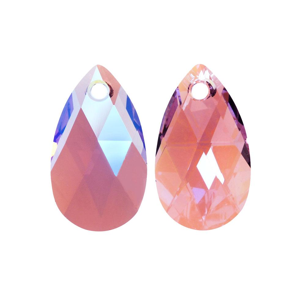 Swarovski Crystal, #6106 Pear Pendant 16mm, 2 Pieces, Light Amethyst Shimmer