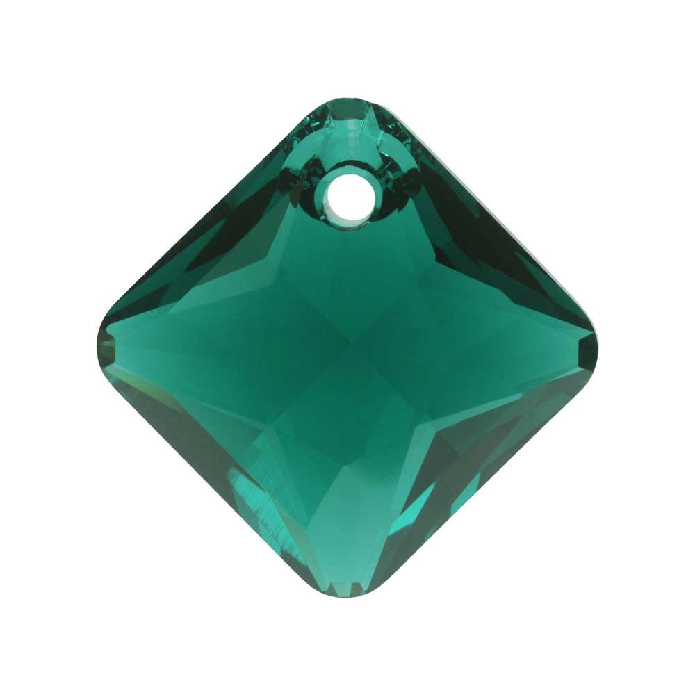 Swarovski Crystal, #6431 Princess Cut Pendant 16mm, 1 Piece, Emerald