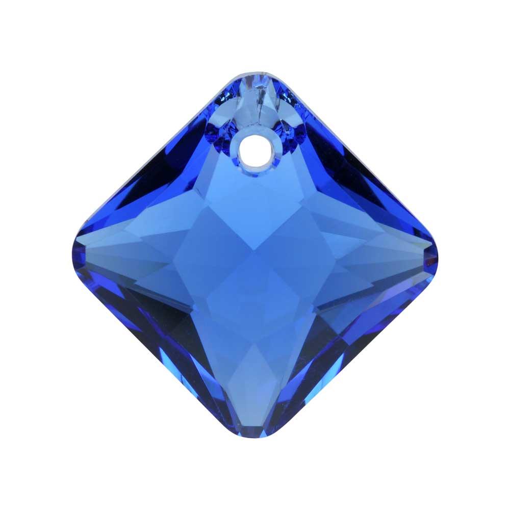 Swarovski Crystal, #6431 Princess Cut Pendant 16mm, 1 Piece, Sapphire