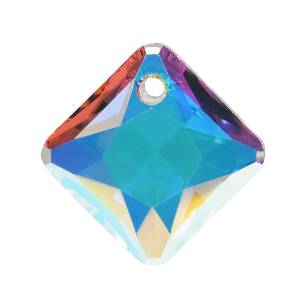 Swarovski Crystal, #6431 Princess Cut Pendant 16mm, 1 Piece, Crystal AB