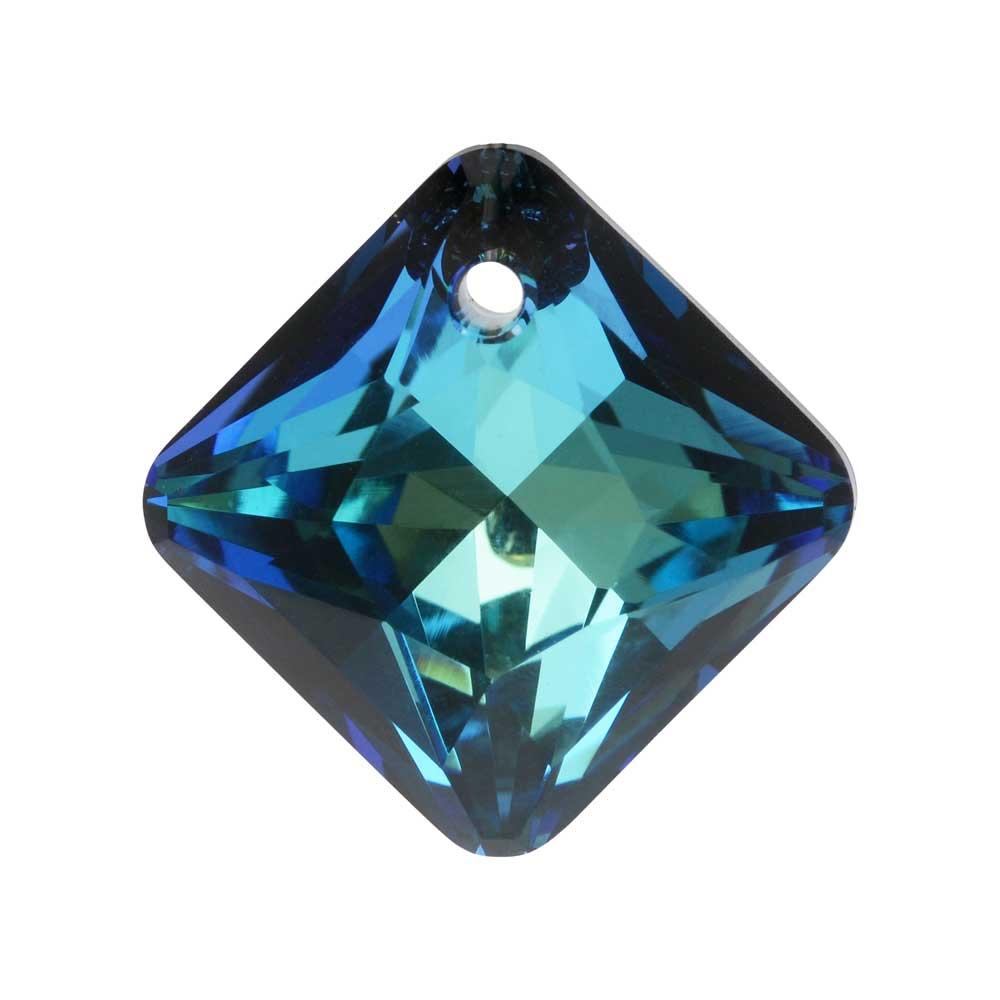 Swarovski Crystal, #6431 Princess Cut Pendant 16mm, 1 Piece, Crystal Bermuda Blue
