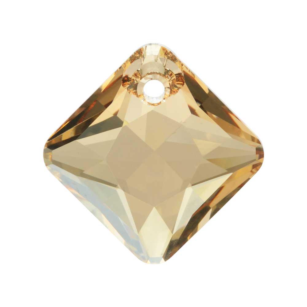 Swarovski Crystal, #6431 Princess Cut Pendant 16mm, 1 Piece, Crystal Golden Shadow