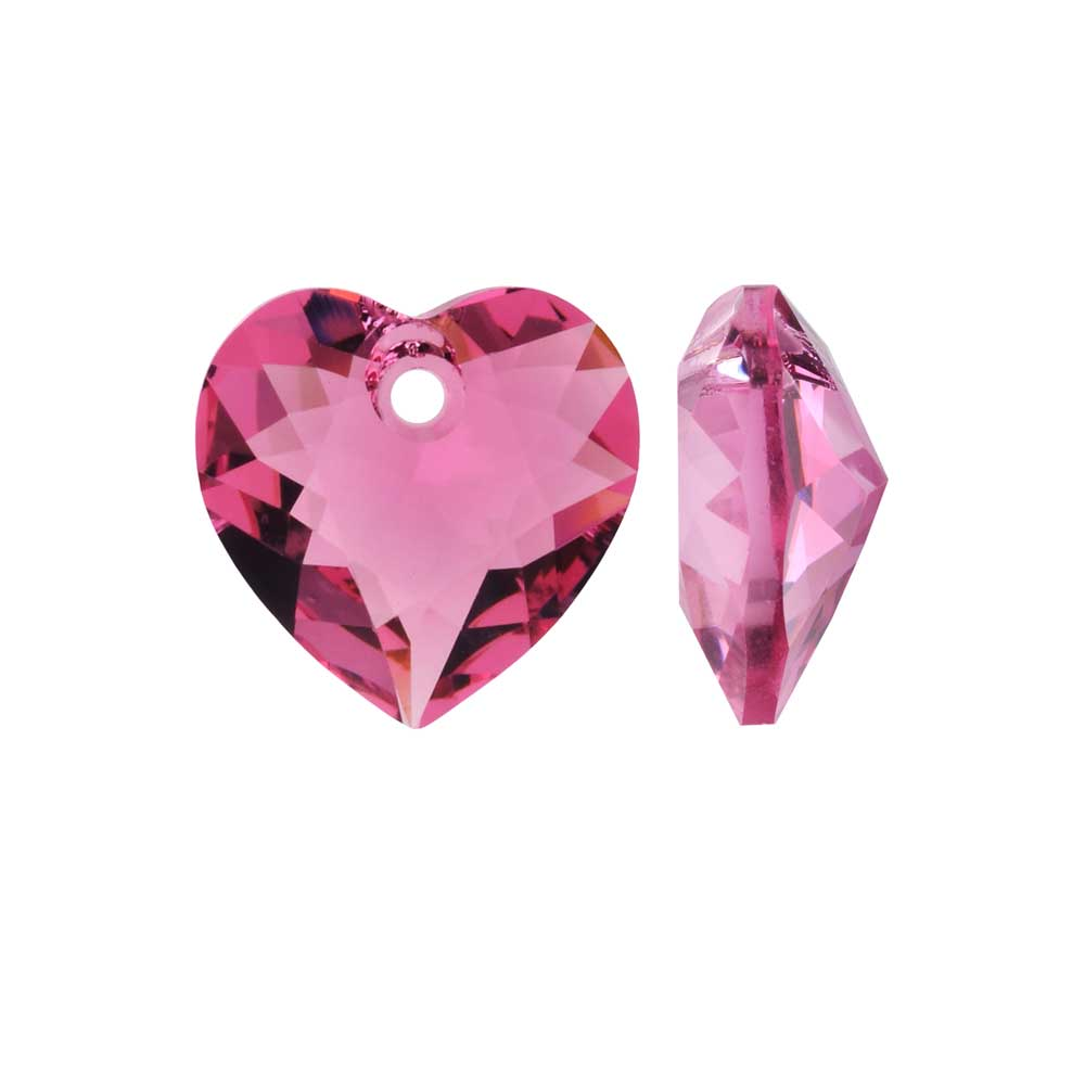 Swarovski Crystal, #6432 Heart Cut Pendant 10.5mm, 2 Pieces, Rose