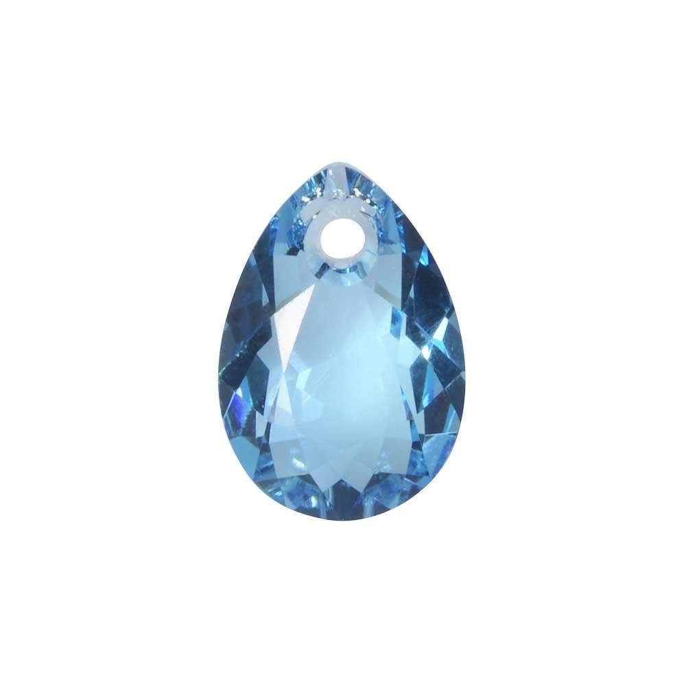 Swarovski Crystal, #6433 Pear Cut Pendant 9mm, 2 Pieces, Aquamarine