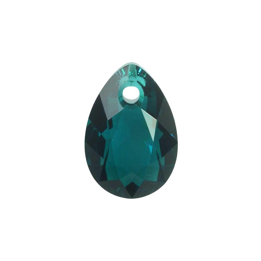 Swarovski Crystal, #6433 Pear Cut Pendant 9mm, 2 Pieces, Emerald