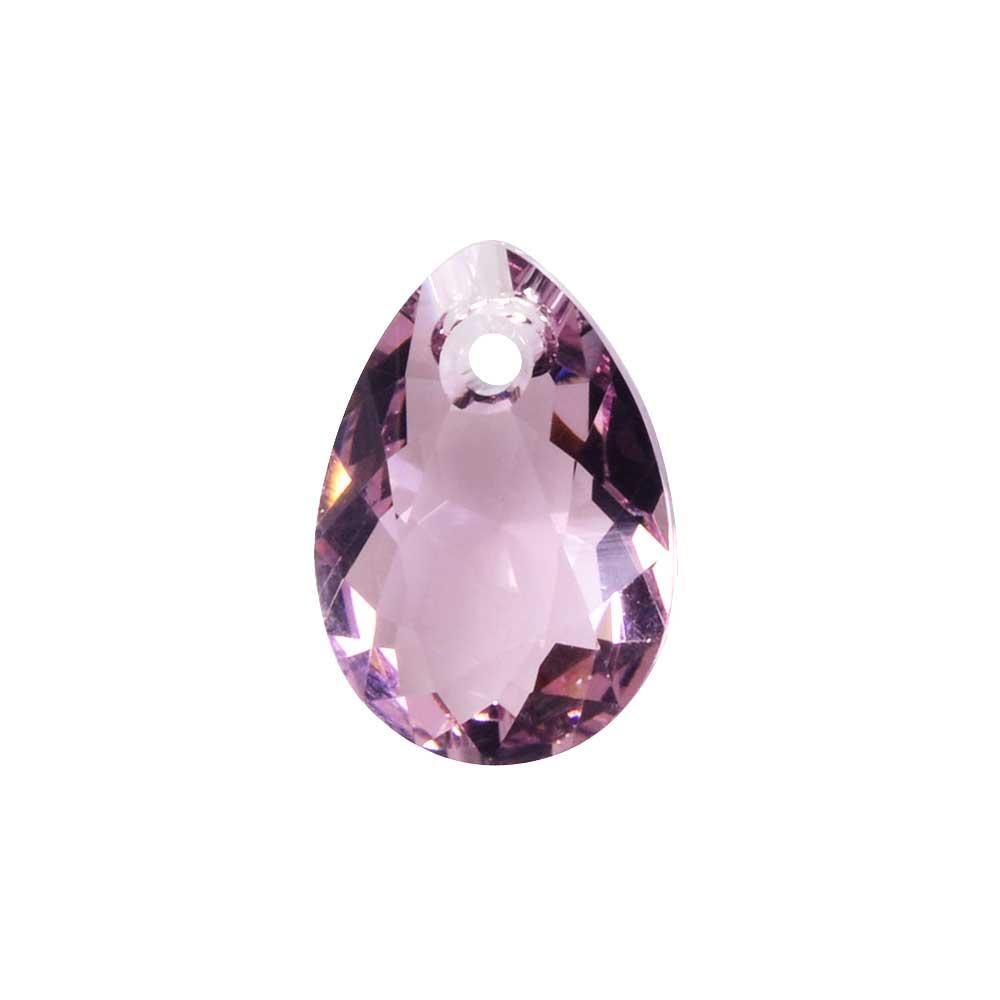 Swarovski Crystal, #6433 Pear Cut Pendant 9mm, 2 Pieces, Light Amethyst