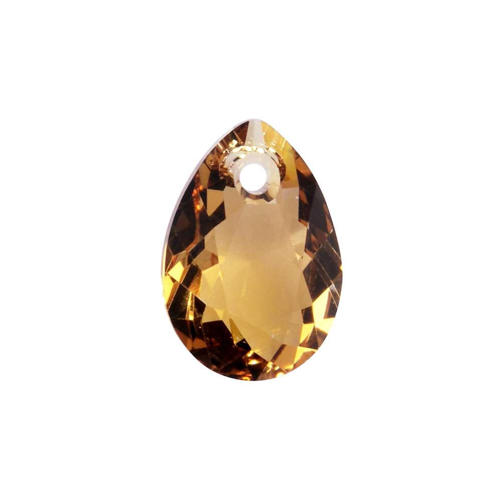 Swarovski Crystal, #6433 Pear Cut Pendant 9mm, 2 Pieces, Light Colorado Topaz