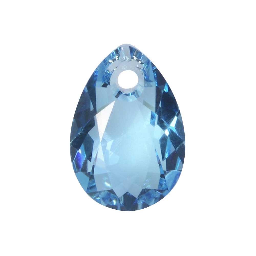 Swarovski Crystal, #6433 Pear Cut Pendant 11.5mm, 2 Pieces, Aquamarine