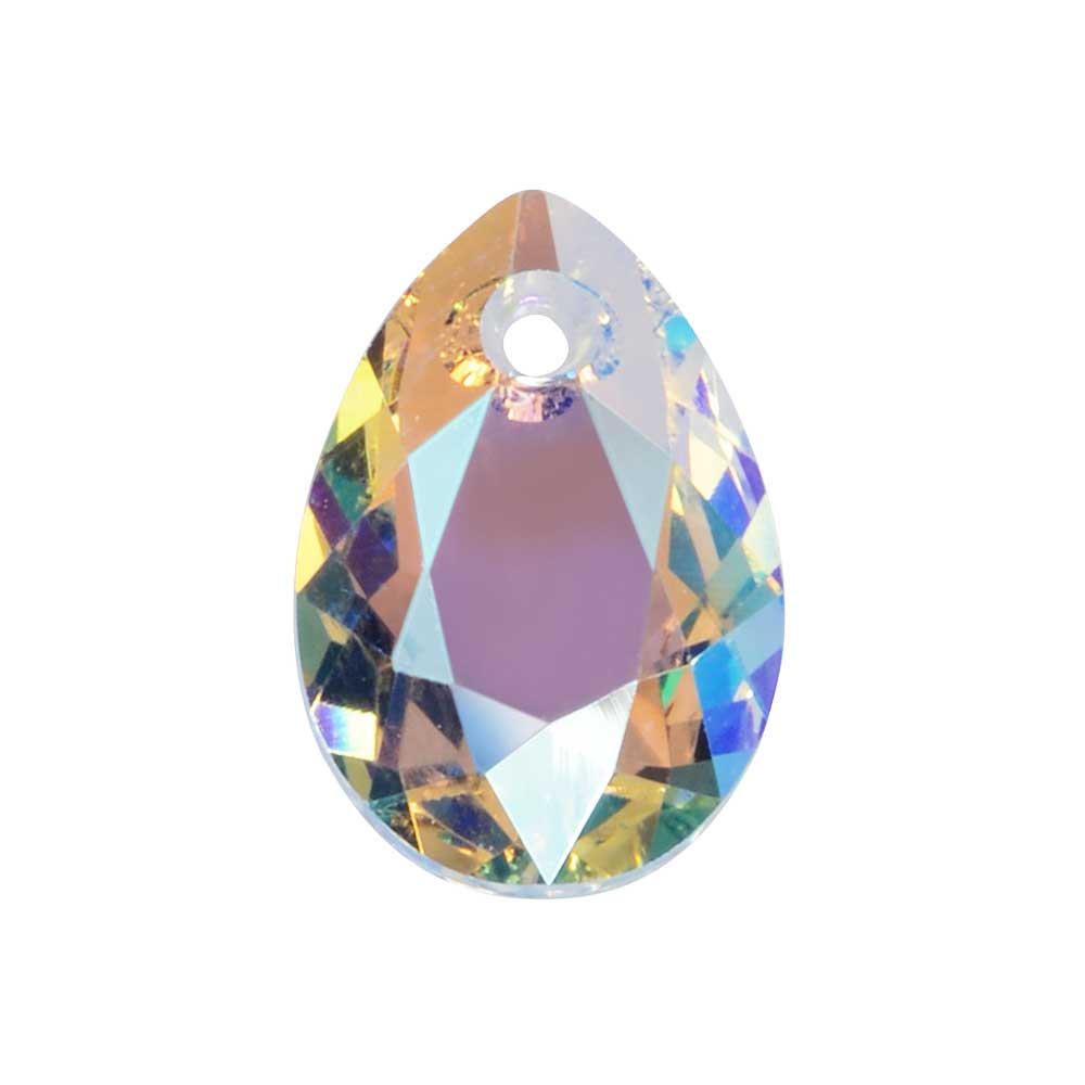 Swarovski Crystal, #6433 Pear Cut Pendant 11.5mm, 2 Pieces, Crystal Shimmer