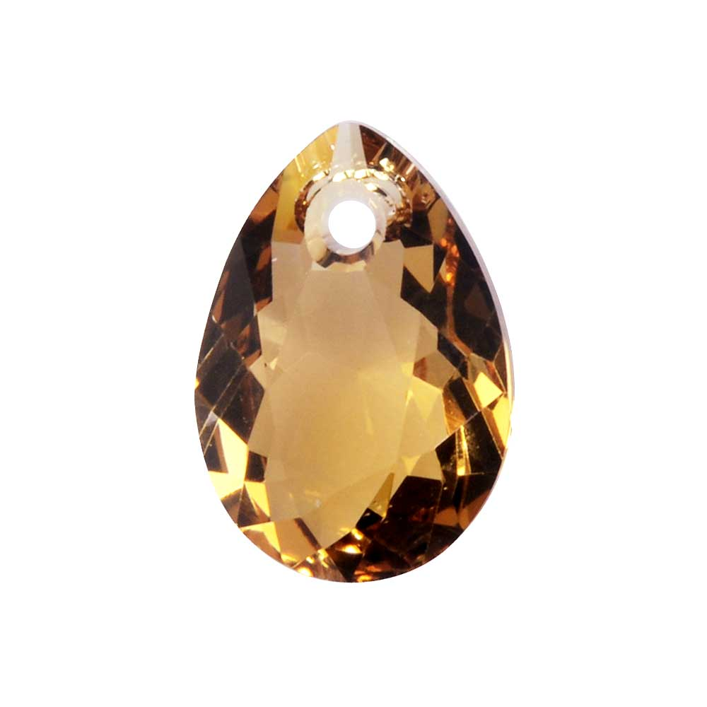 Swarovski Crystal, #6433 Pear Cut Pendant 11.5mm, 2 Pieces, Light Colorado Topaz