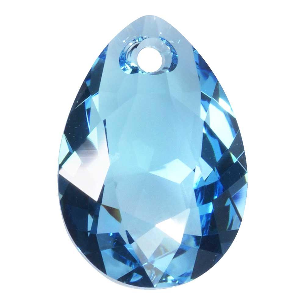 Swarovski Crystal, #6433 Pear Cut Pendant 16mm, 1 Piece, Aquamarine