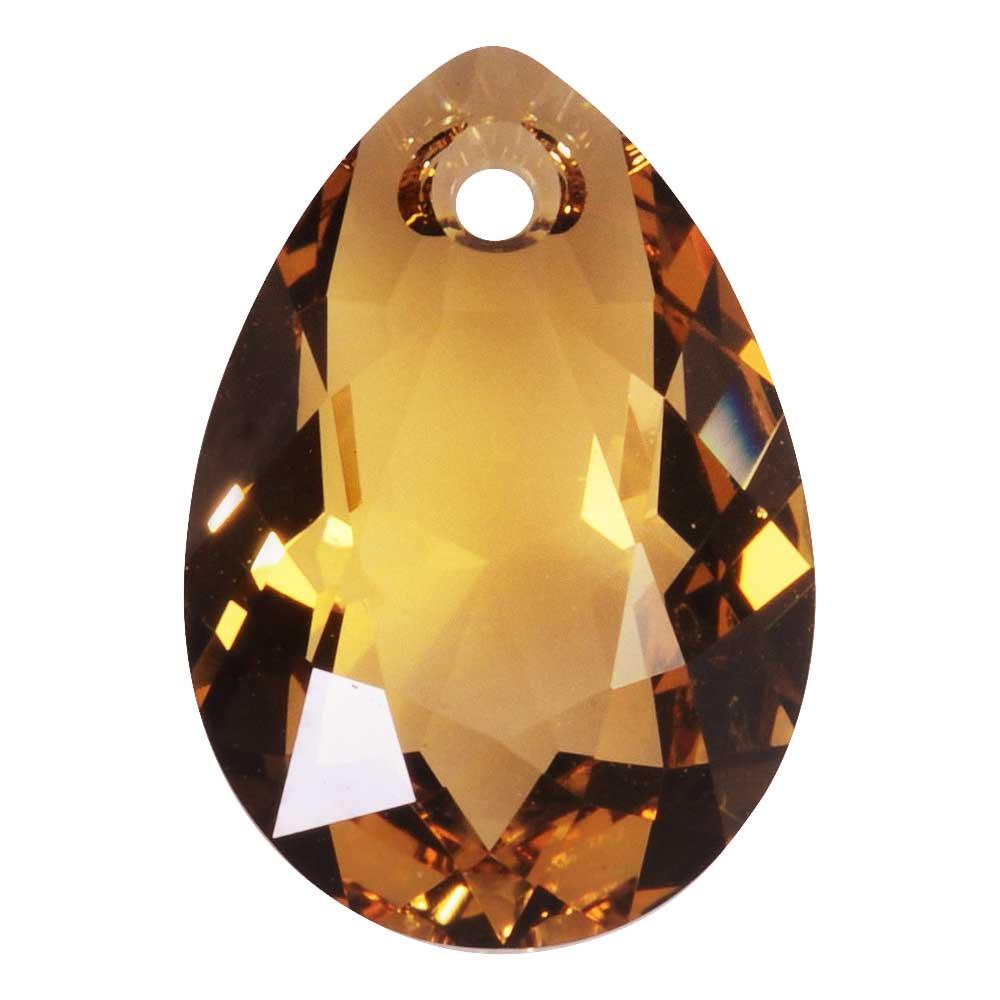 Swarovski Crystal, #6433 Pear Cut Pendant 16mm, 1 Piece, Light Colorado Topaz