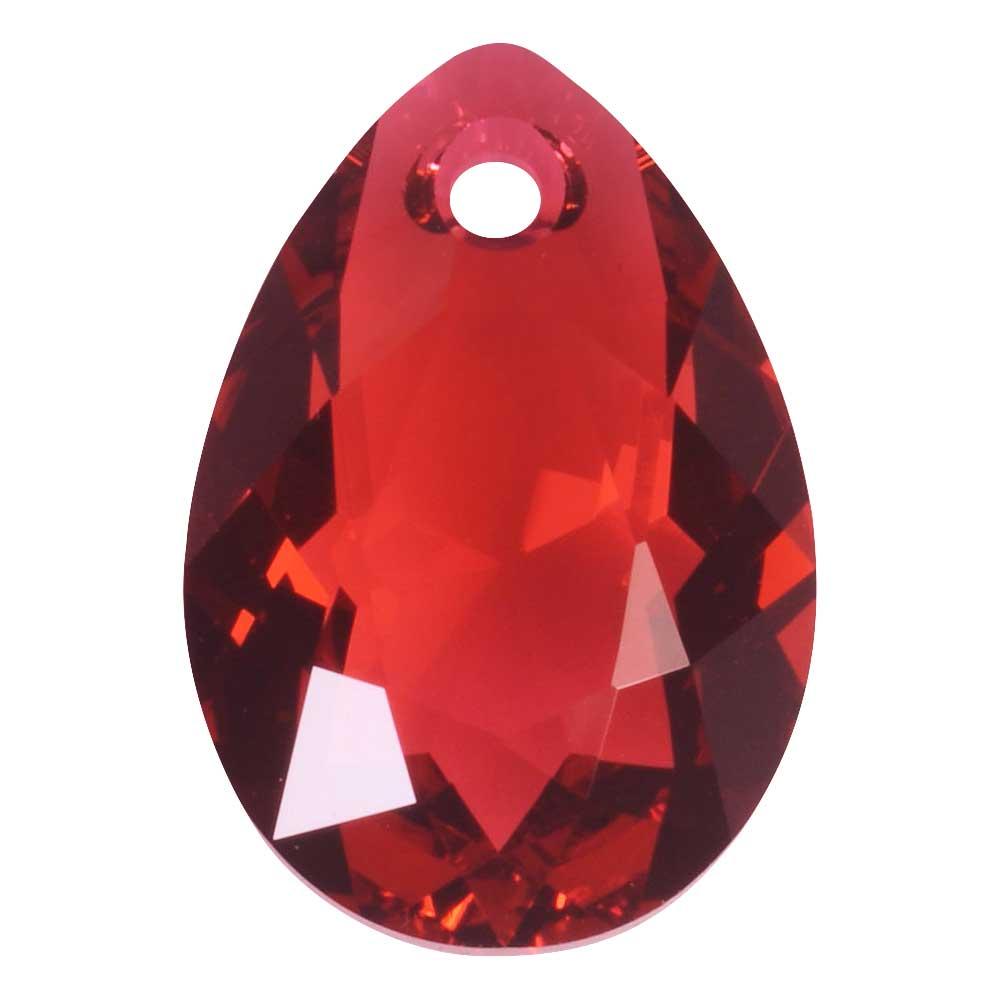 Swarovski Crystal, #6433 Pear Cut Pendant 16mm, 1 Piece, Scarlet