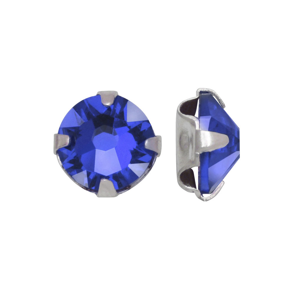 Swarovski Crystal, #53102 Rose Montees SS16 4mm, 24 Pieces, Sapphire / Silver Plated