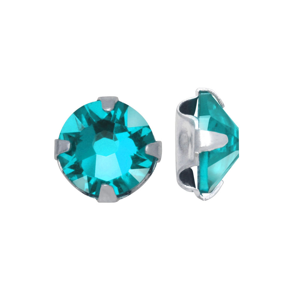 Swarovski Crystal, #53102 Rose Montees SS16 4mm, 24 Pieces, Light Turquoise / Silver Plated