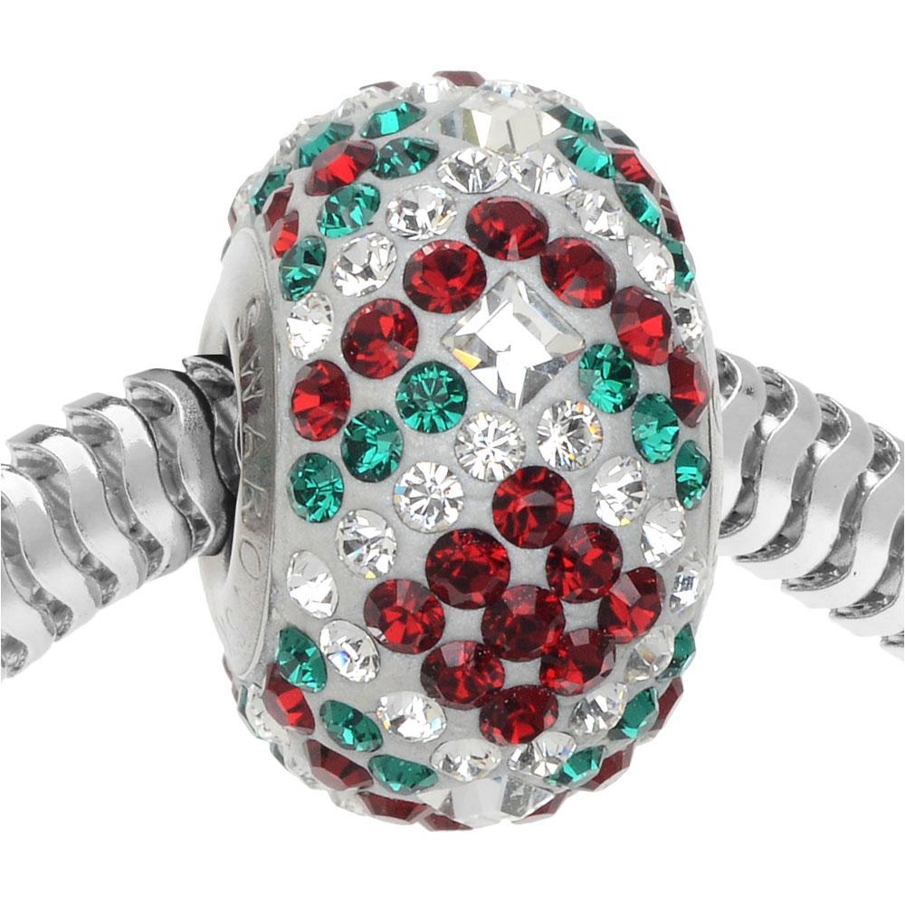Swarovski Crystal, BeCharmed Pave Christmas Bead 4.5mm Hole 14mm, Siam & Emerald Green