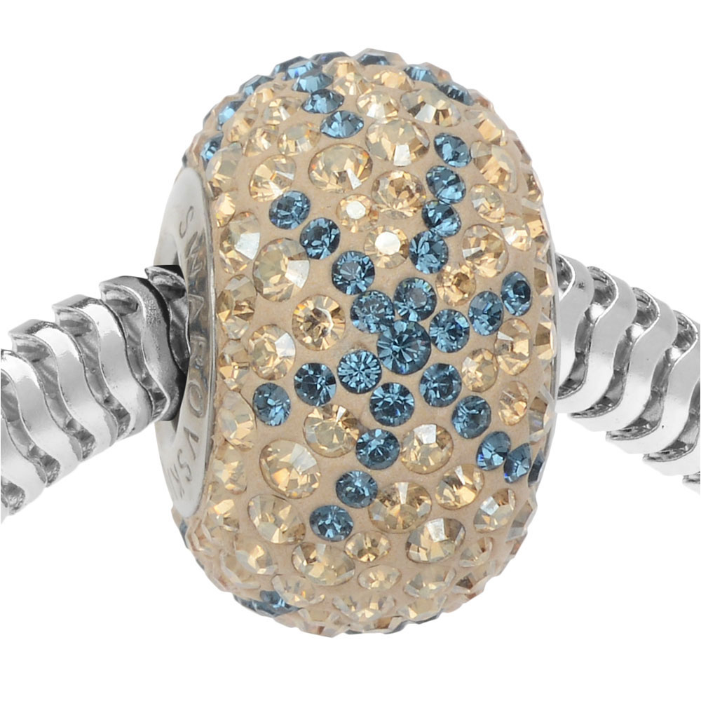 Swarovski Crystal, #82063 BeCharmed Pave Snowflake Bead 4.5mm Hole 14mm, 1 Piece, Light Sapphire