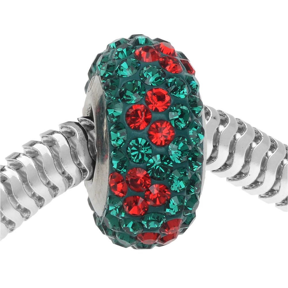 Swarovski Crystal, #82072 BeCharmed Pave Noel Christmas Bead, 1 Piece, Emerald & Light Siam