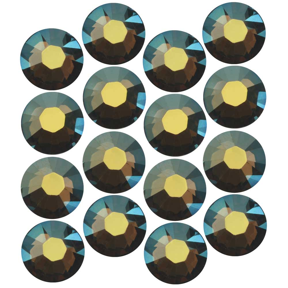Final Sale - Swarovski Crystal, Round Flatback Rhinestone Hotfix SS34 7mm, 12 Pieces, Crystal Iridescent Green