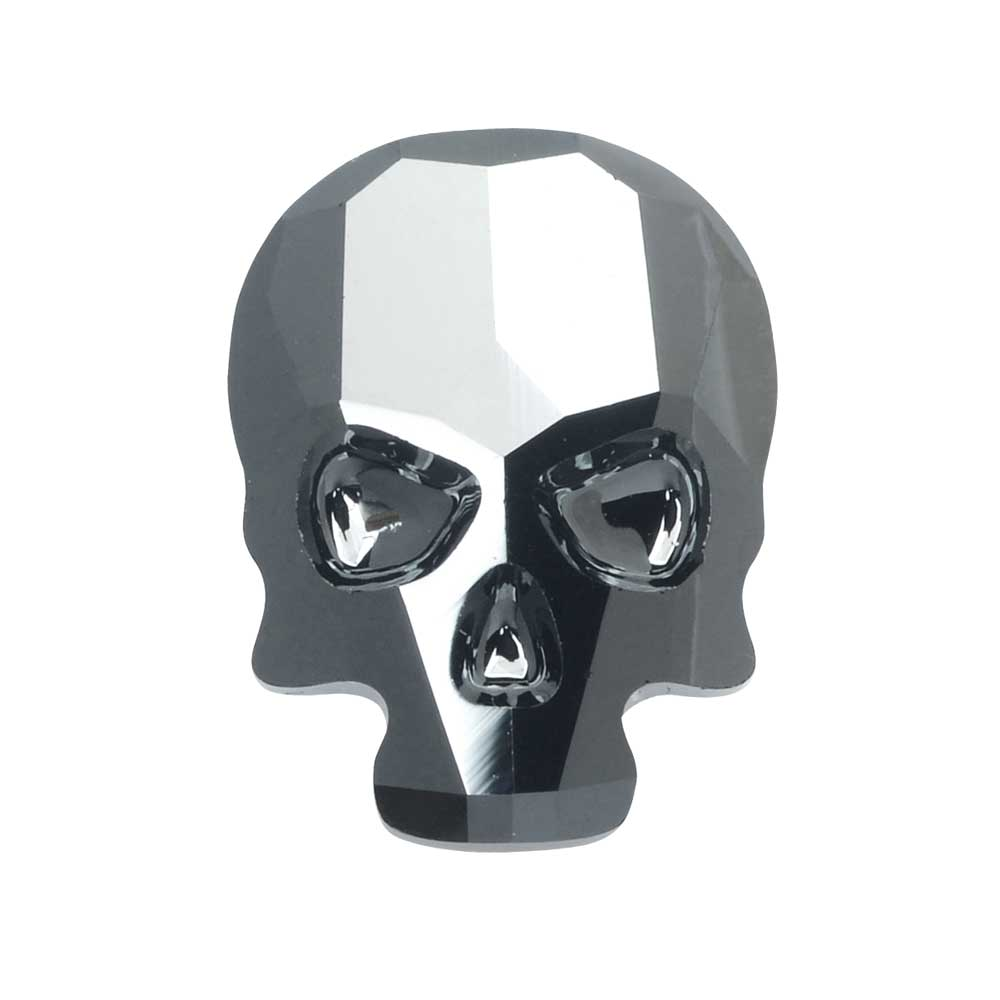 Swarovski Crystal, #2856 Skull Flatback Rhinestone Hotfix 14x10.5mm, 1 Piece, Jet Hematite