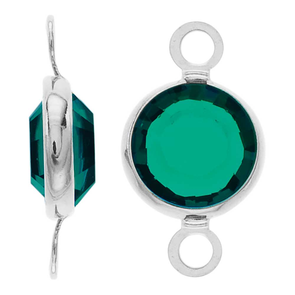Swarovski Crystal, Rhodium Plated Channel Connector Link, 7mm, 4 Pieces, Emerald