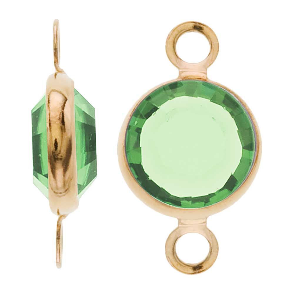 Swarovski Crystal, Gold Plated Channel Connector Link, 7mm, 4 Pieces, Peridot