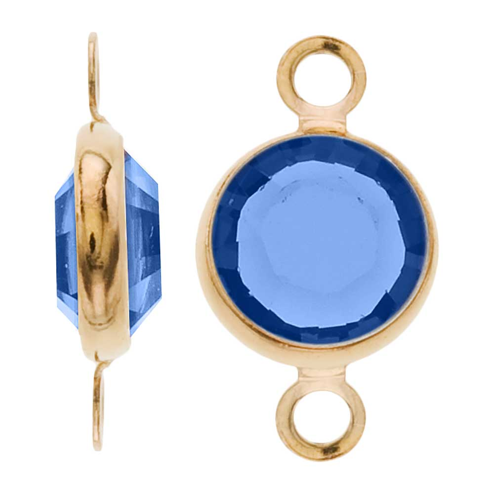 Swarovski Crystal, Gold Plated Channel Connector Link, 7mm, 4 Pieces, Sapphire