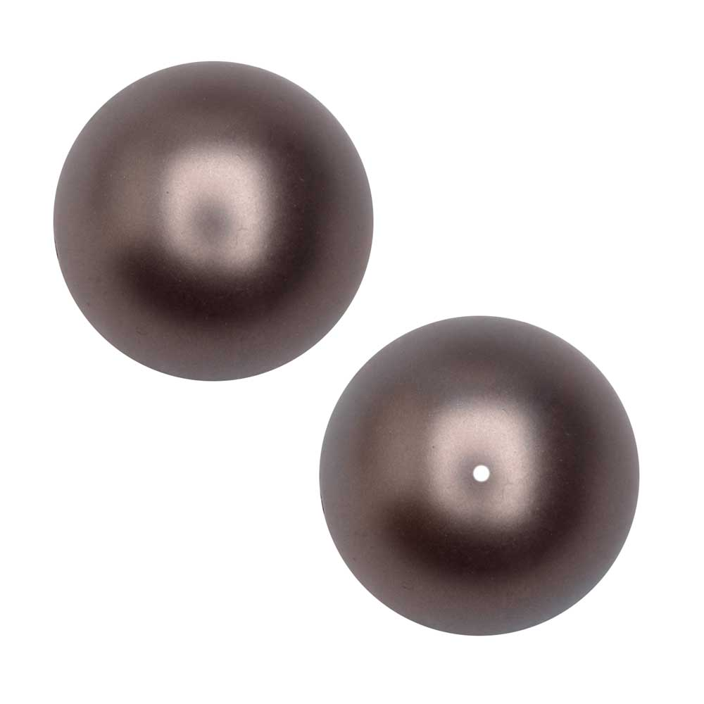 Swarovski Crystal, #5810 Round Faux Pearl Beads 10mm, 10 Pieces, Velvet Brown