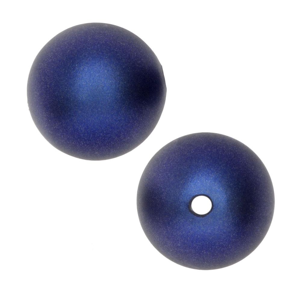 Swarovski Crystal, #5810 Round Faux Pearl Beads 12mm, 4 Pieces, Iridescent Dark Blue