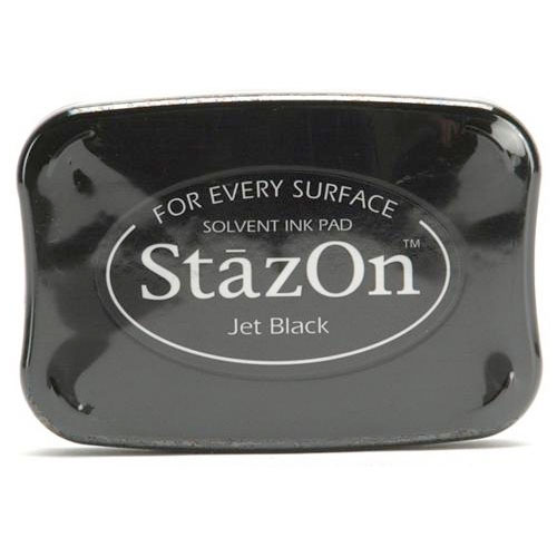 Tsukineko StazOn Acid Free Jet Black Color Solvent Ink Pad For Rubber Stamps, 1 Ink Pad