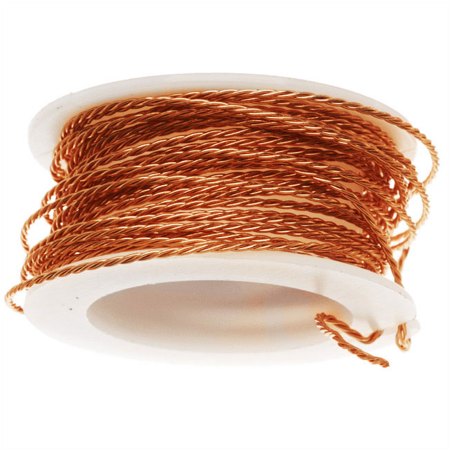 Artistic Wire, Twisted Craft Wire 20 Gauge Thick, 3 Yard Spool, Tarnish Resistant Natural Copper