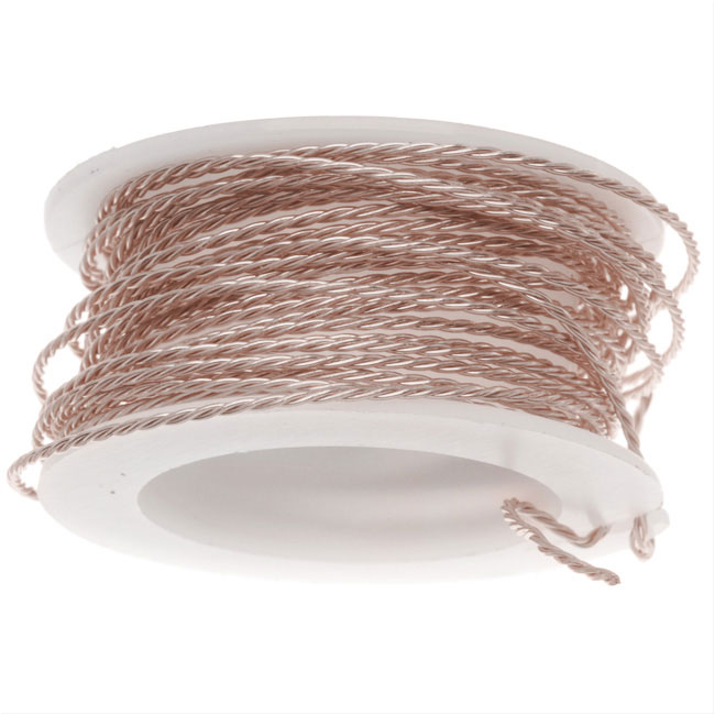 Artistic Wire, Twisted Craft Wire 20 Gauge Thick, 3 Yard Spool, Rose Gold Color
