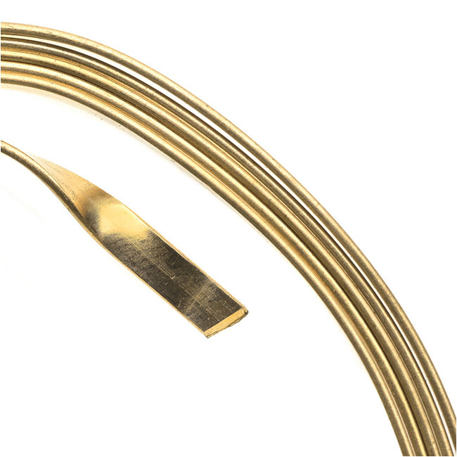 Artistic Wire, Flat Craft Wire 3mm 21 Gauge Thick, 3 Foot Coil, Silver Plated Gold Color